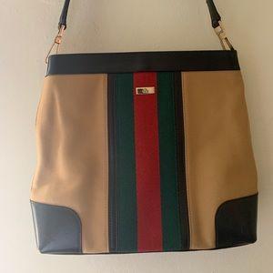 GUCCI Brown Canvas Web stripe shoulder bag!